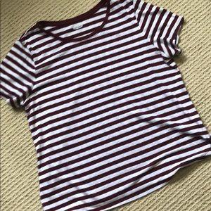 Linen Blend XL maroon/white striped tee